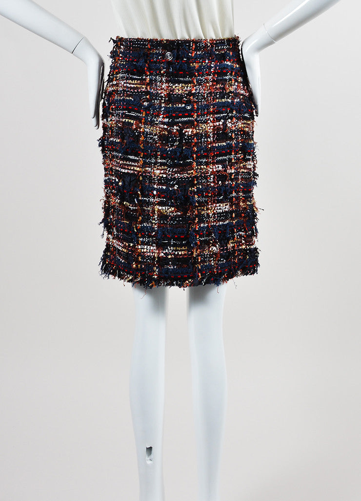 Navy Blue, Red, and Multicolor Chanel Knit Silk Tweed Fringe Pencil Skirt Frontview