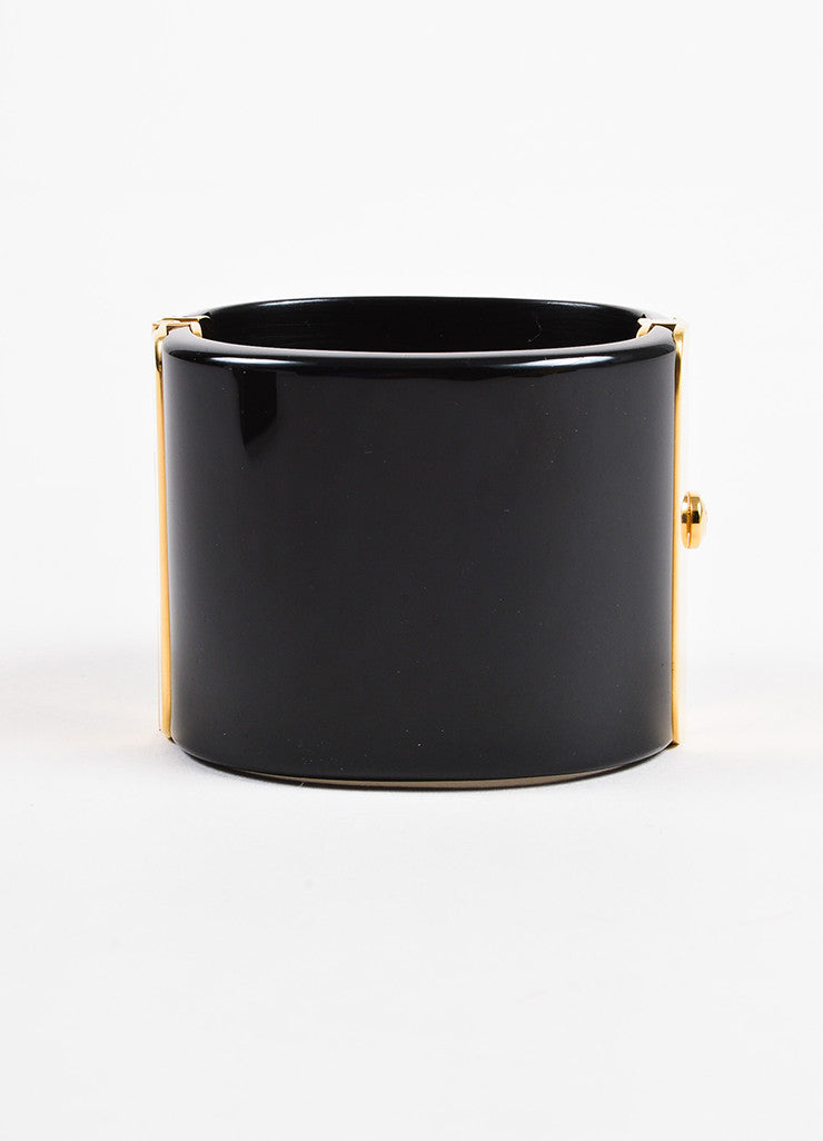 Chanel Black, Red, and Gold Toned Resin Gripoix Glitter Wide Bangle Cuff Bracelet Backview