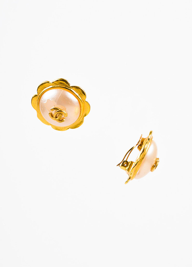 Gold Chanel Faux Pearl Camelia Flower Clip On Earrings Side
