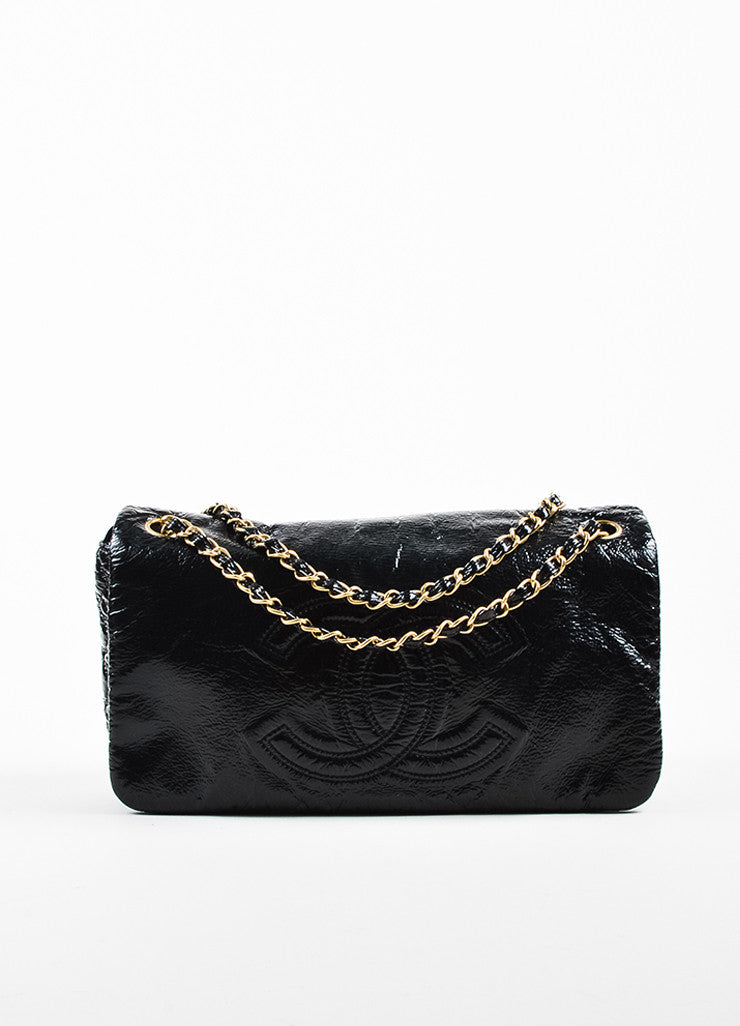 Black Chanel Crinkle Vinyl Silver Tone Rock And Chain Medium Flap Bag Front