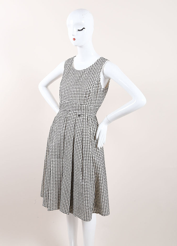 Chanel Black and White Cotton and Silk Woven Sleeveless Pleated A-Line Dress Sideview