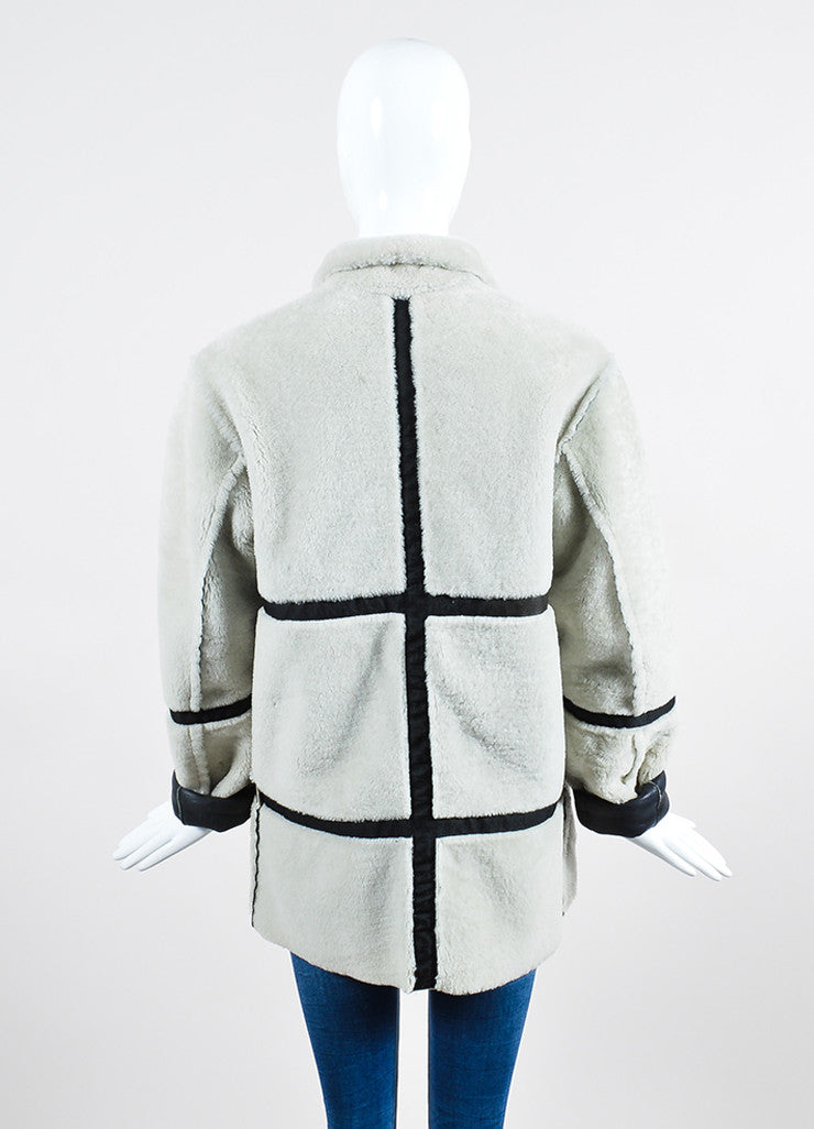 Black Leather and Cream Shearling Reversible Chanel Zip Up Coat Backview 2