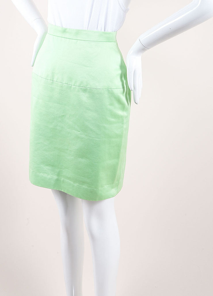 Chanel Lime Green Poplin Woven Pencil Skirt Sideview
