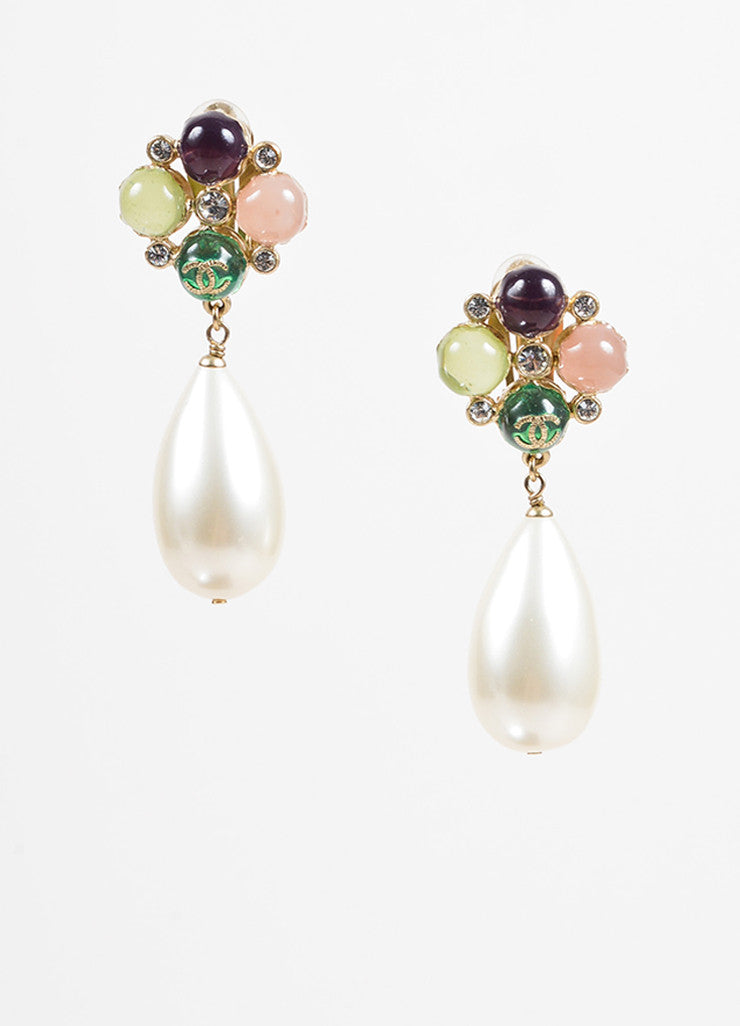 "Chanel Multicolor Resin Gold Toned Metal Faux Pearl Crystal ""CC"" Clip On Earrings Frontview"