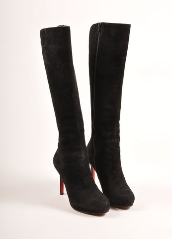 "Christian Louboutin Black Suede Leather Knee High ""Botalili"" Boots Frontview"