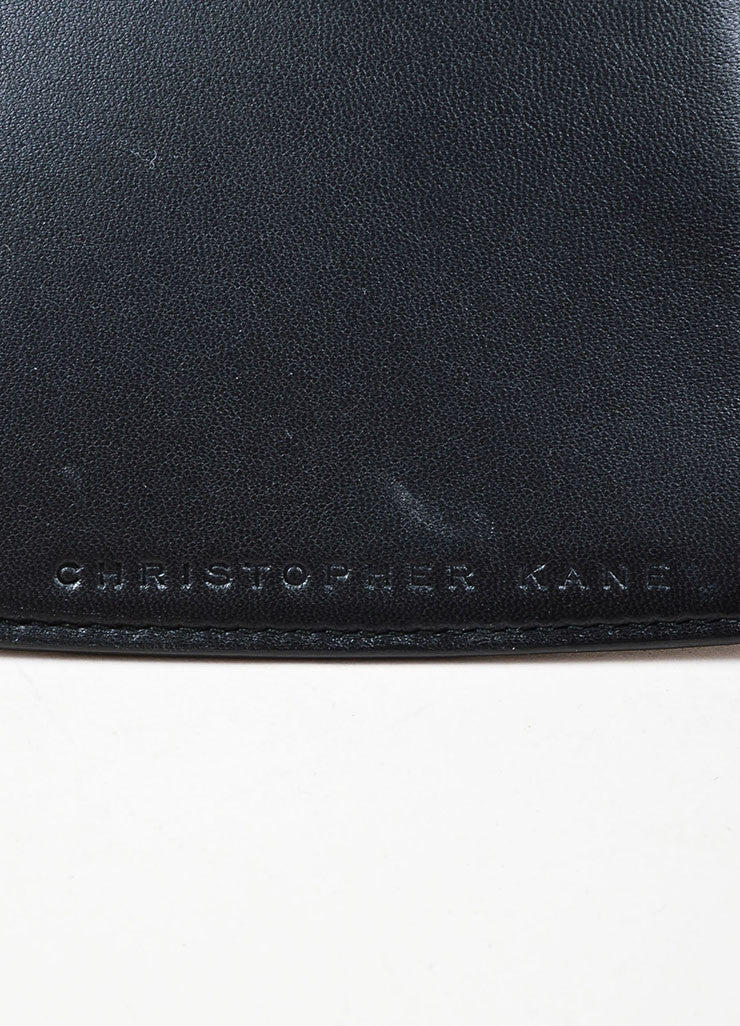 Black Christopher Kane Leather Zip Up Heart Shaped Clutch Bag Detail 3