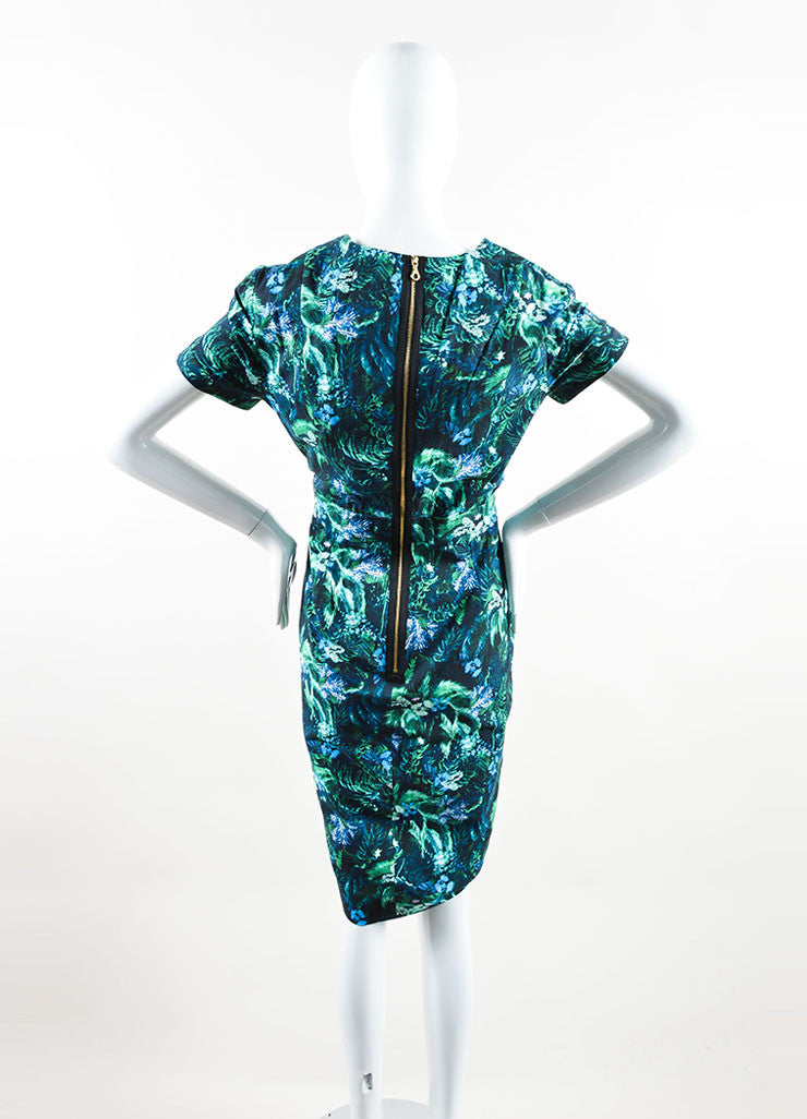 Erdem Green and Blue Tropical Floral Print Short Sleeve Dress Backview