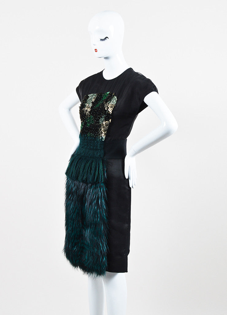 Black and Green Fendi Silk Blend Fox Fur Panel Embellished Short Sleeve Dress Sideview
