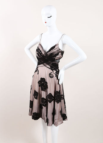 Giorgio Armani Black and Nude Tulle and Lace Sequin Embellished Sleeveless A-Line Dress Sideview