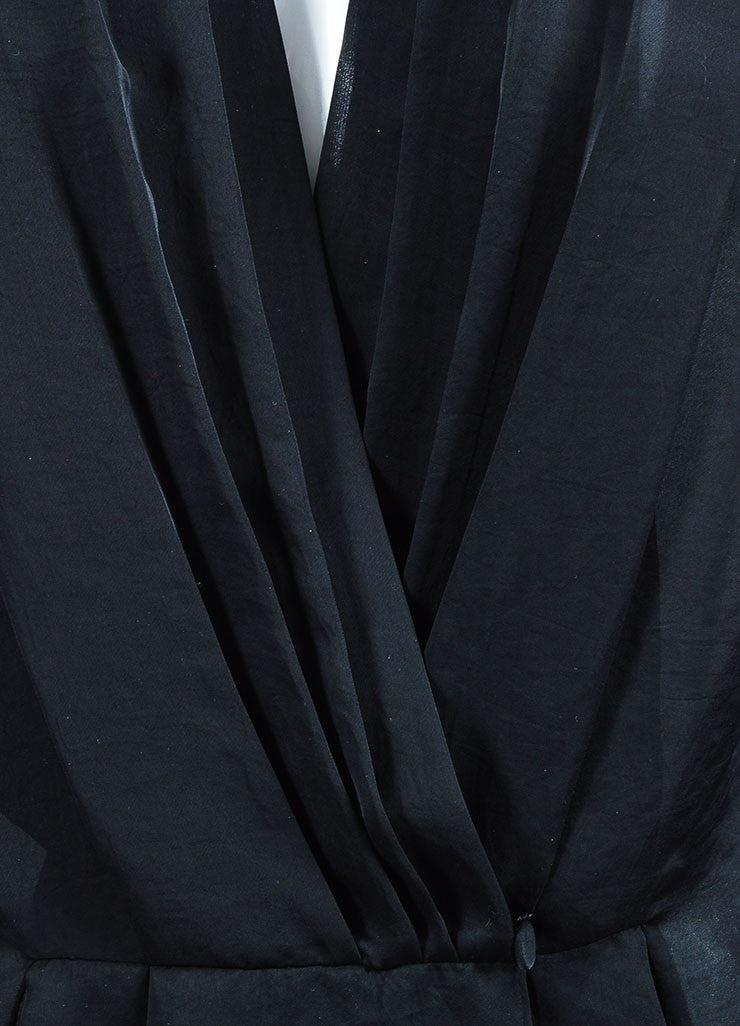 Black Givenchy Sheer Pleated Deep V Long Sleeve Blouse Detail