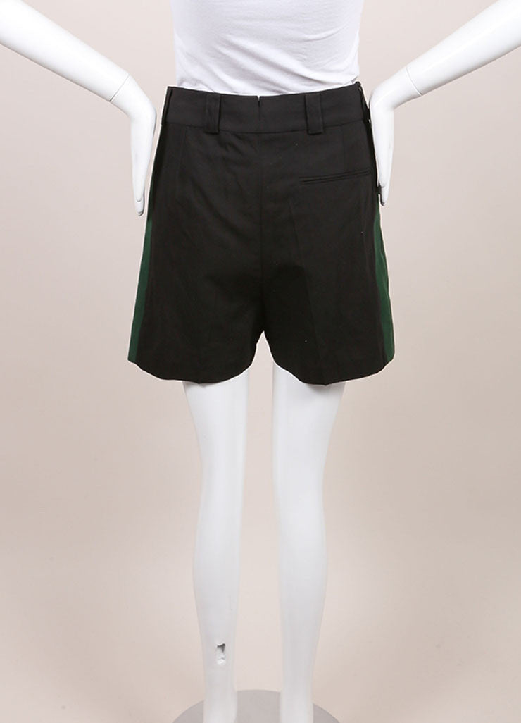 "Haider Ackermann New With Tags Black and Green Grosgrain Panel ""Hathor"" Shorts Backview"