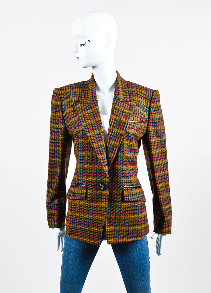 Multicolor Hermes Wool Houndstooth Long Sleeve Blazer Frontview