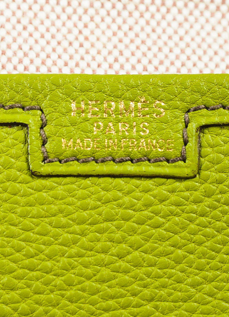 "Hermes Vert Anis Green Togo Leather ""Jige PM"" Flap Clutch Bag Brand"