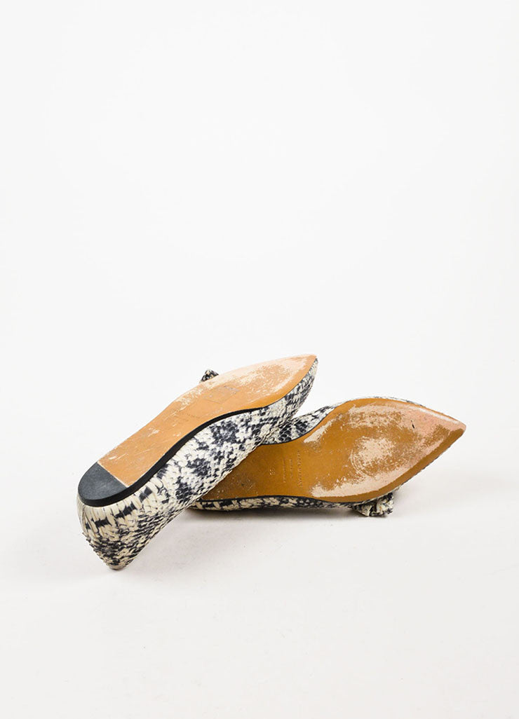 Isabel Marant Black Cream Python Effect Bow Pointed Toe Flats Outsoles