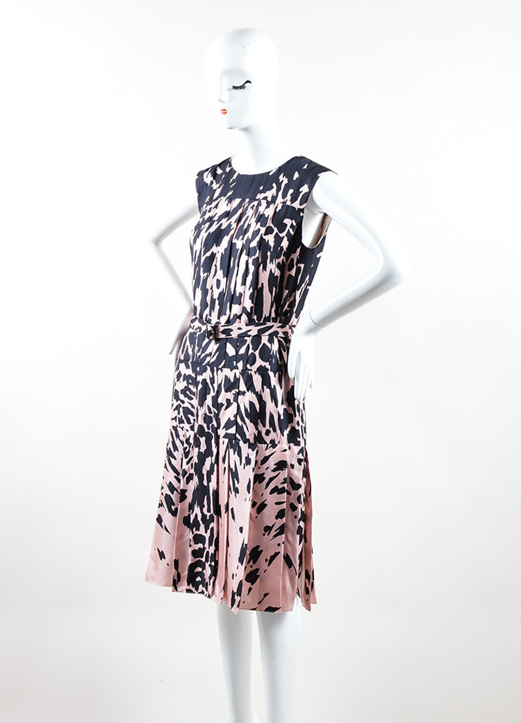 J. Mendel Pink and Black Silk Printed Pleated Belted Sleeveless Dress Sideview