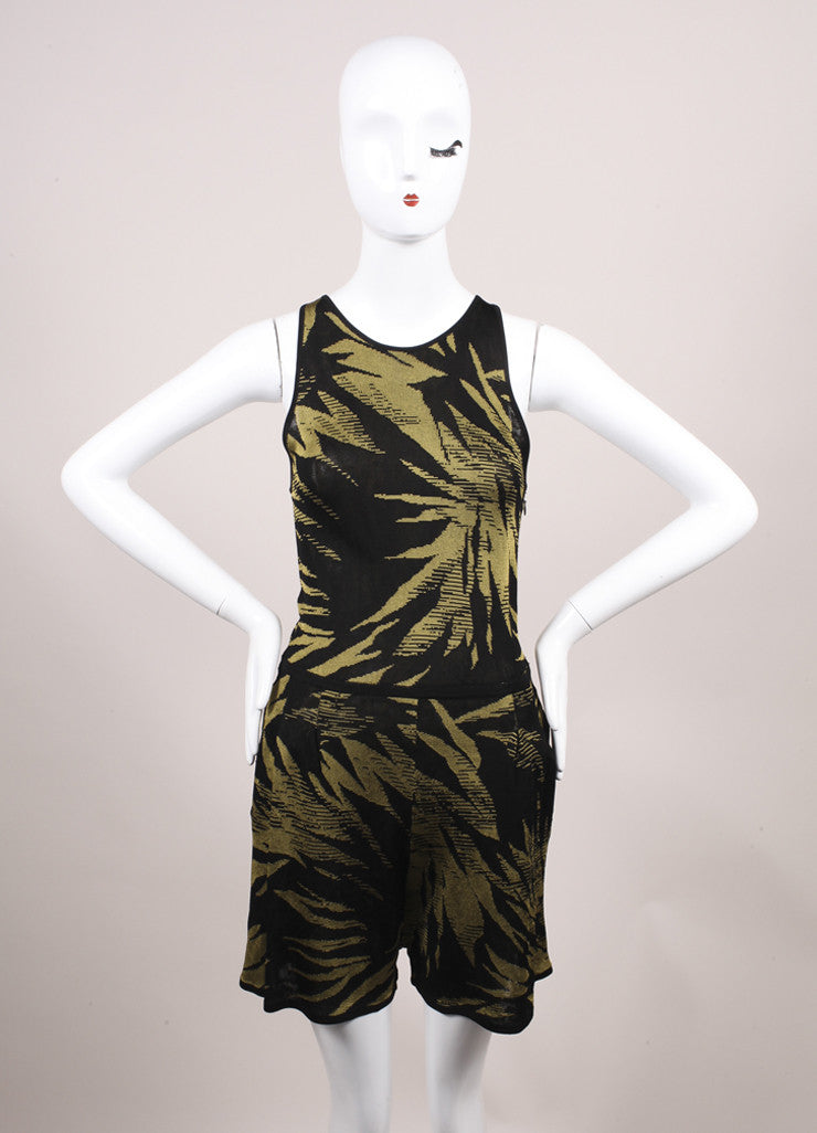 Jason Wu Black and Green Botanical Palm Print Knit Sleeveless Romper Frontview
