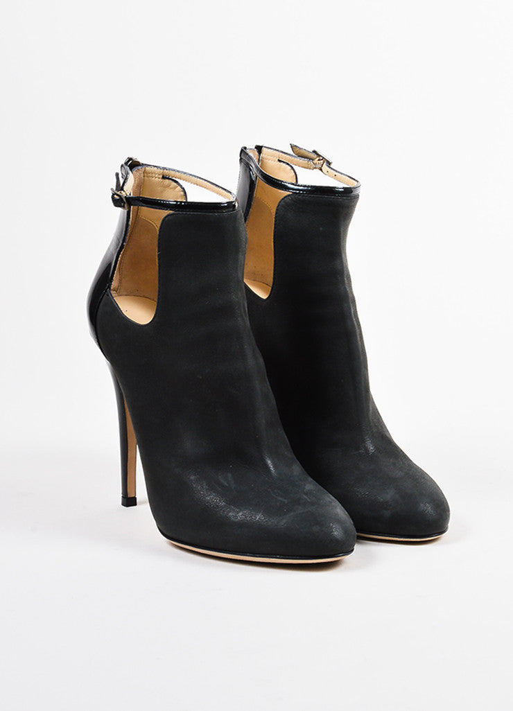 "Grey Jimmy Choo Nubuck Leather Cut Out ""Luther"" Ankle Boots  Front"