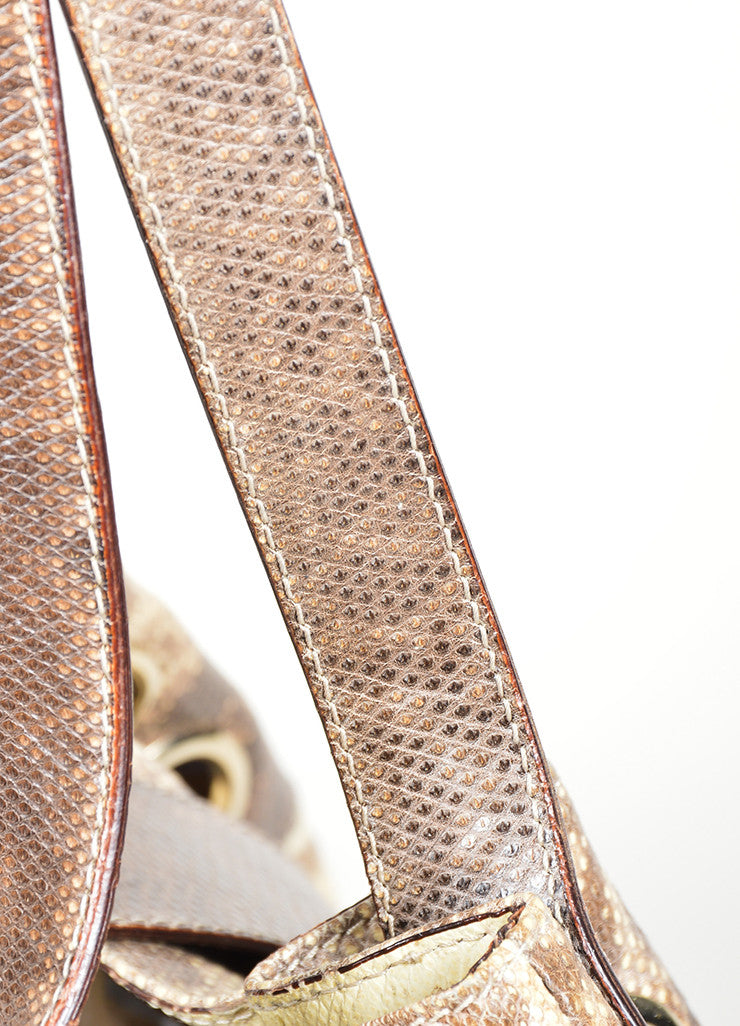 "Beige and Brown Jimmy Choo Snakeskin Leather Gathered ""Ramona"" Shoulder Bag Detail 2"