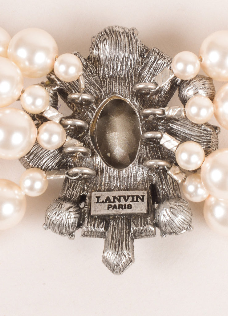 Lanvin Cream, Blue, Grey Rhinestone and Faux Pearl Embellished Multi Strand Bracelet Brand