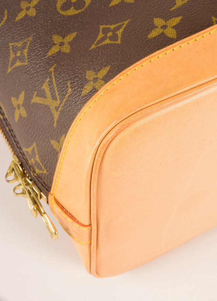 Louis Vuitton Brown and Tan Coated Canvas Leather Monogram Alma PM Bag Detail