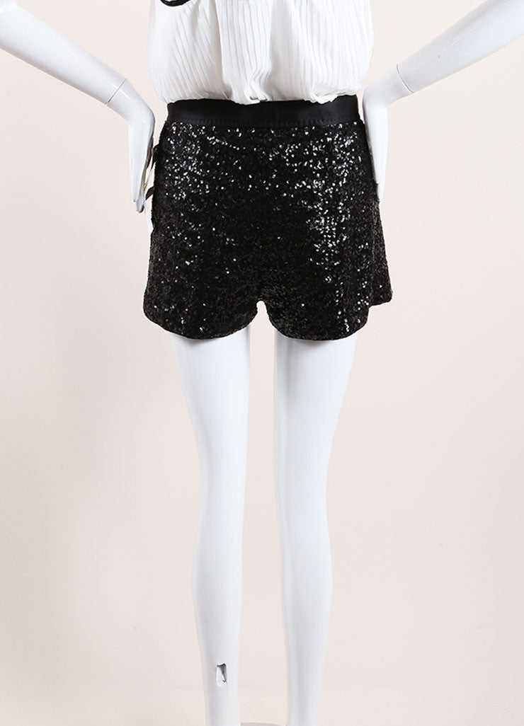 Moschino Cheap & Chic Black Sequin Satin Pleated Shorts Back