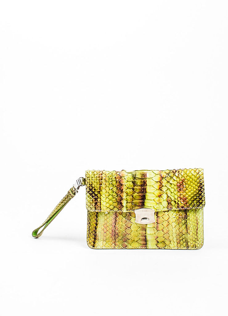 Green, Brown, and Purple Prada Python Snakeskin Top Flap Push Lock Wristlet Wallet Frontview
