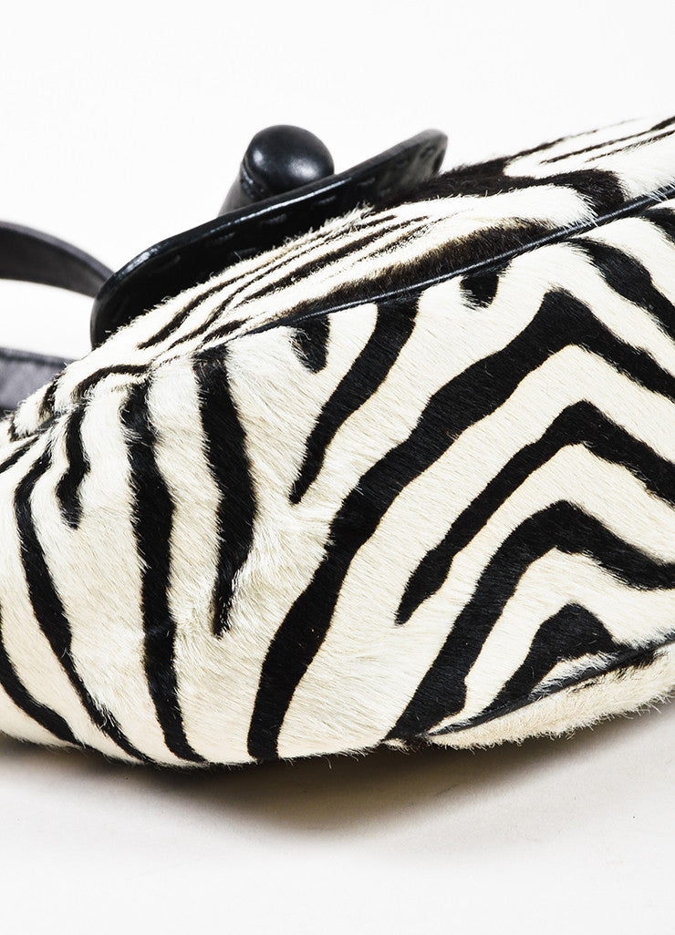 Prada Limited Edition Black and White Leather Pony Hair Zebra Patterned Mini Tote Bag Detail