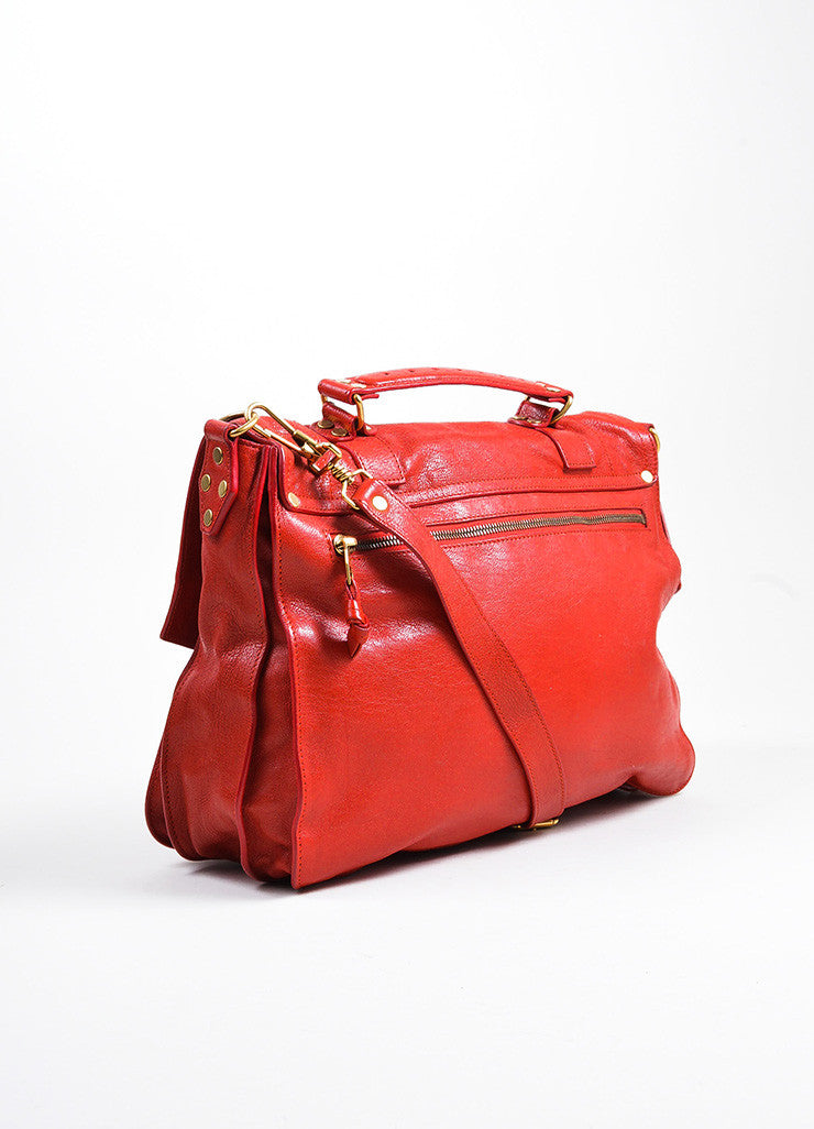 Red Leather Gold Toned Hardware Proenza Schouler Large PS1 Satchel Bag Sideview