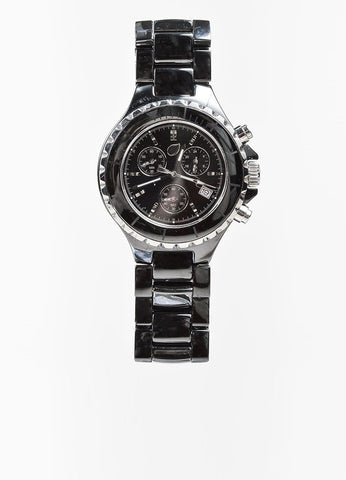 Black and Silver Toned Tamara Comolli Cermaic Large Chronograph Bracelet Watch Frontview