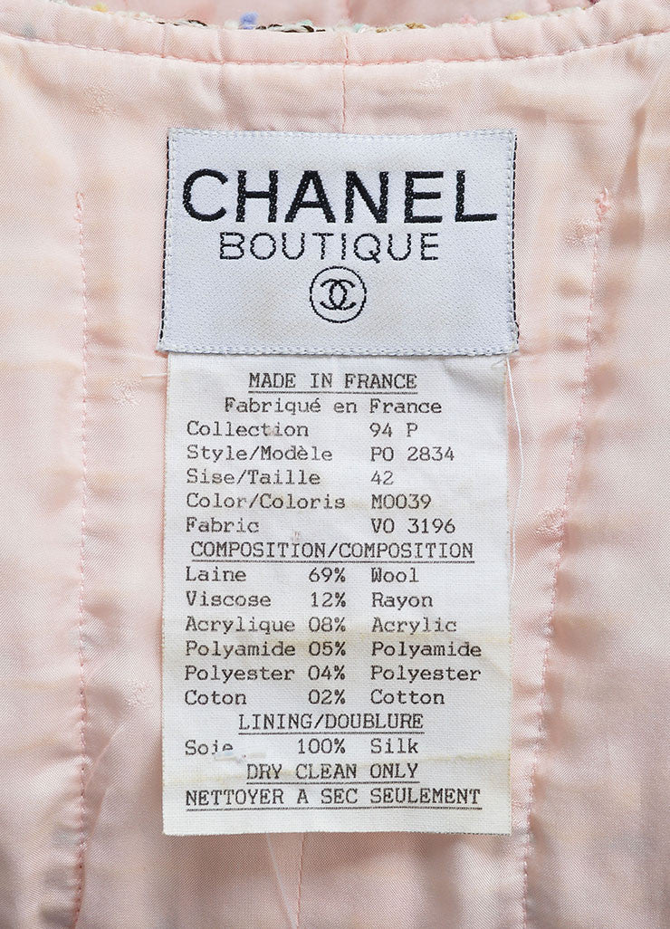 Chanel Pink and Multicolor Wool Blend Tweed Long Sleeve Jacket Brand