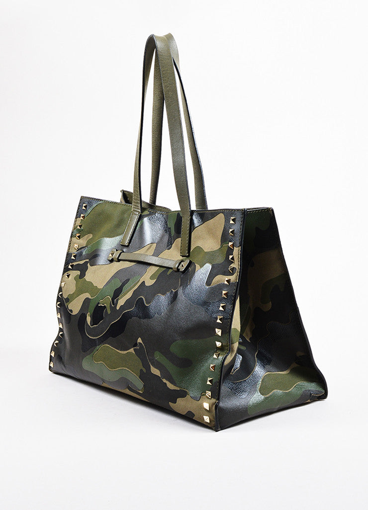 "Valentino Garavani Green and Black Canvas and Leather Camo ""Rockstud"" Tote Sideview"