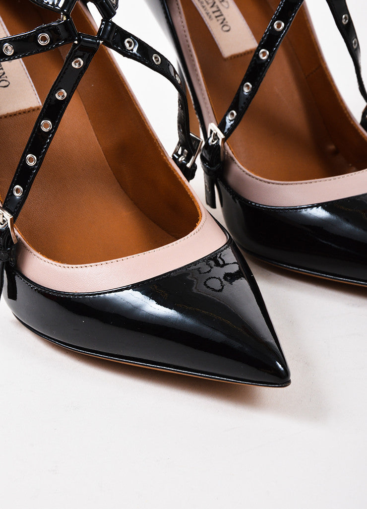 "Valentino Black and Nude Patent Leather Caged ""Love Latch"" Pumps Detail"