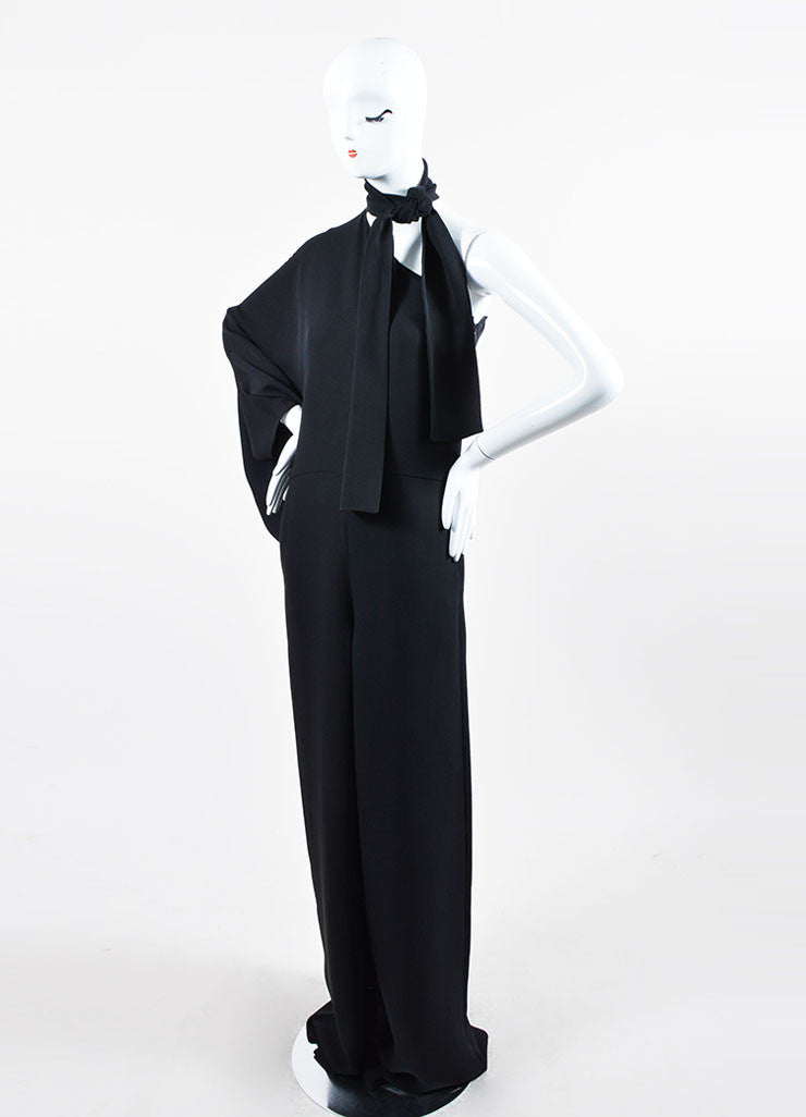 Black Valentino One Shoulder Tie Neck Jumpsuit Sideview