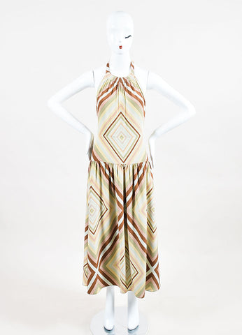 Brown Green & Pink Valentino Silk Striped Halterneck Maxi Dress Front 2