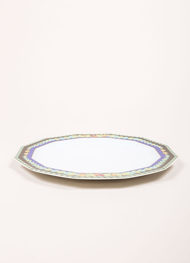 "Versace Rosenthal Multi-Blue ""Le Roi Soleil"" 10.5 inch Dodecagon Dinner Plate Sideview"