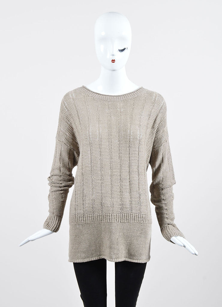 Tan Vince Woven Linen Pullover Sweater Front