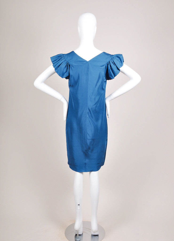 Yves Saint Laurent Teal Blue Silk Butterfly Sleeve Dress Backview