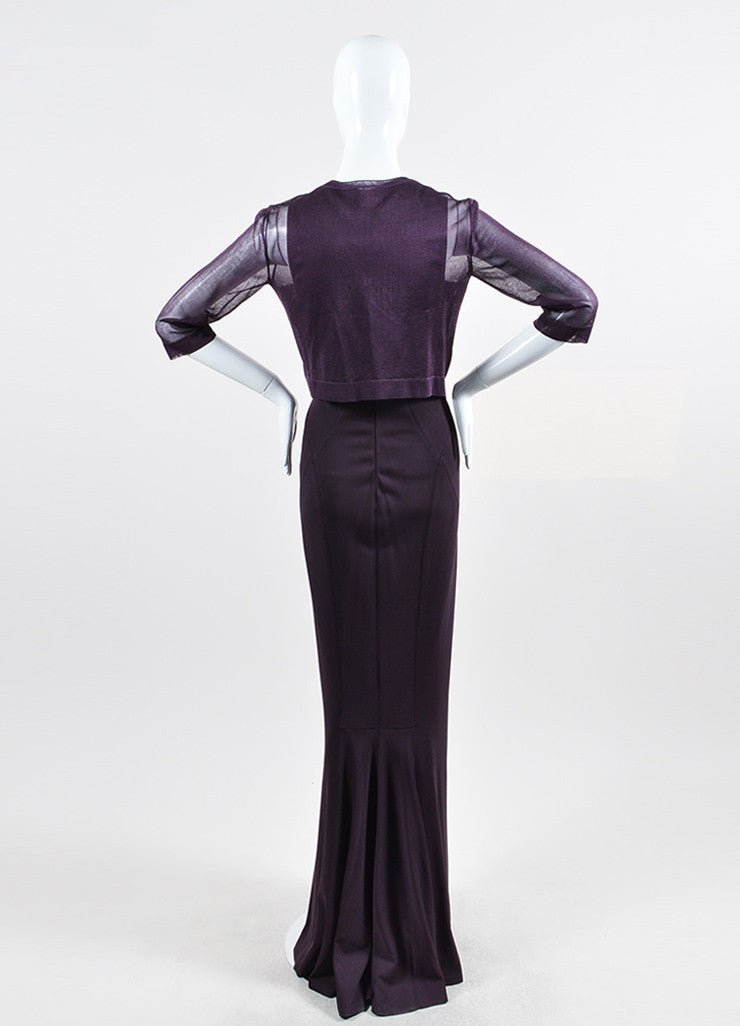 Dark Purple Alaia Square Neck Gown With Sheer Shrug Backview