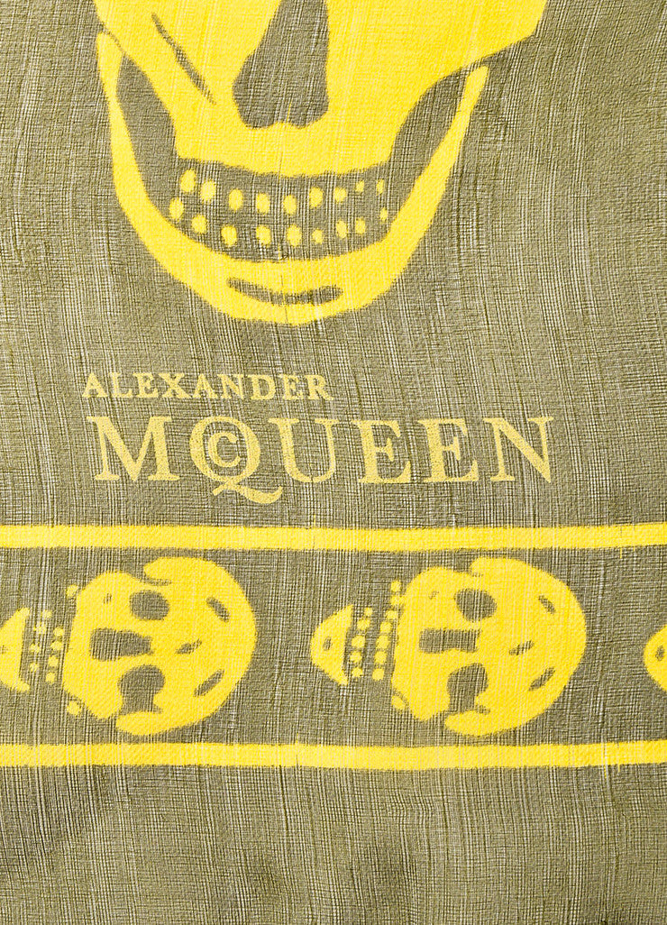 å´?ÌÜAlexander McQueen Olive Green and Yellow Skull Sheer Square Scarf Brand