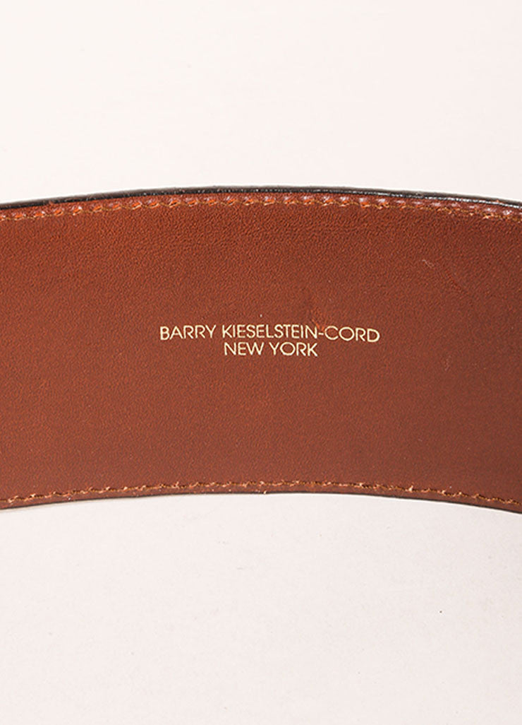 Barry Kieselstein Cord Black and Gold Toned Crocodile Leather Oversized Buckle Belt Brand