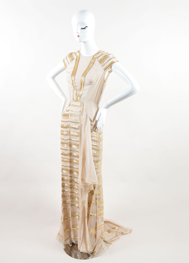 Bibhu Mohapatra Beige Silk Gold Sequin Beaded Cap Sleeve Gown Sideview