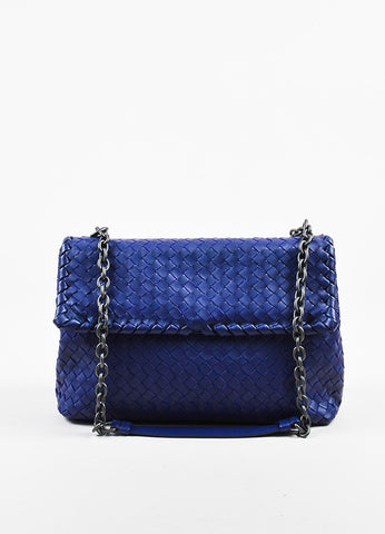 "Blue Bottega Veneta Leather Intrecciato Medium ""Olimpia"" Shoulder Bag Front"