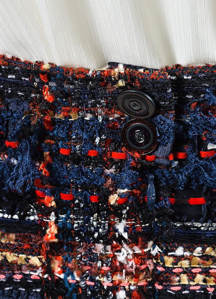 Navy Blue, Red, and Multicolor Chanel Knit Silk Tweed Fringe Pencil Skirt Detail
