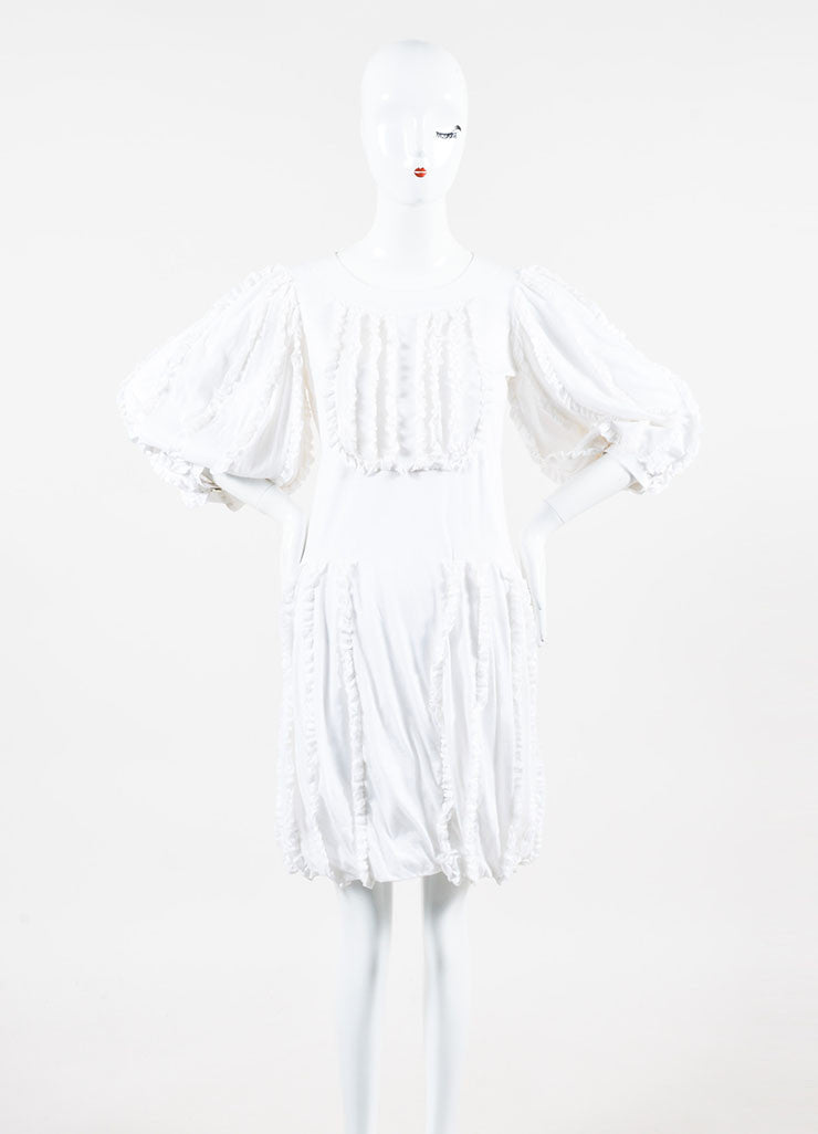 White Cotton Chanel Ruffled Crop Sleeve Bubble Dress Front