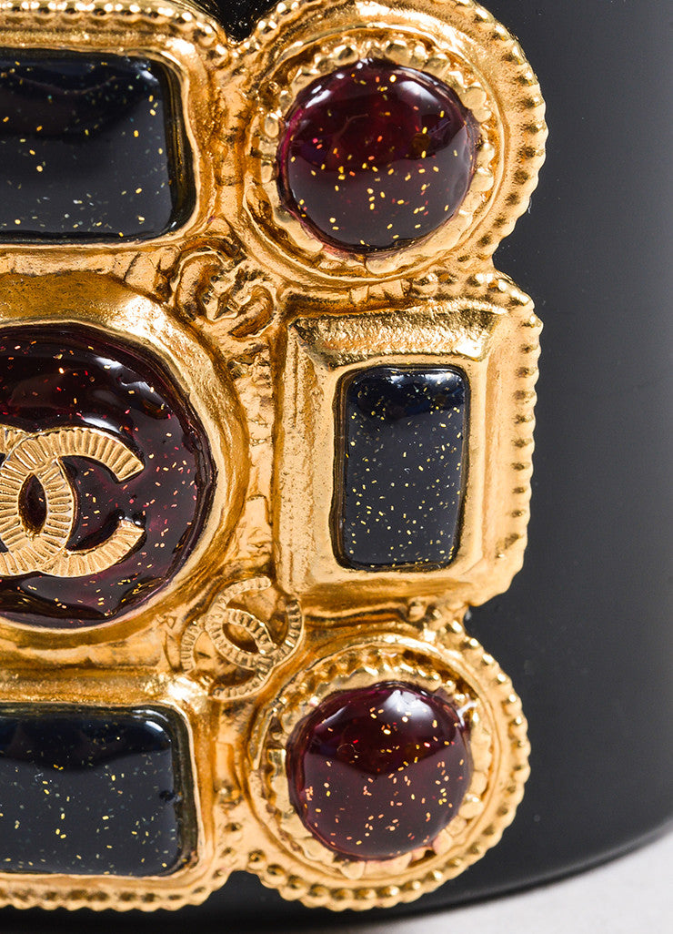 Chanel Black, Red, and Gold Toned Resin Gripoix Glitter Wide Bangle Cuff Bracelet Detail