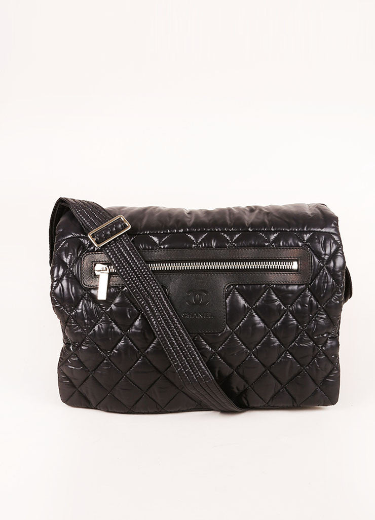 Black Chanel Padded and Quilted Nylon Messenger Bag Frontview