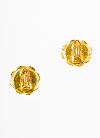 Gold Chanel Faux Pearl Camelia Flower Clip On Earrings Back
