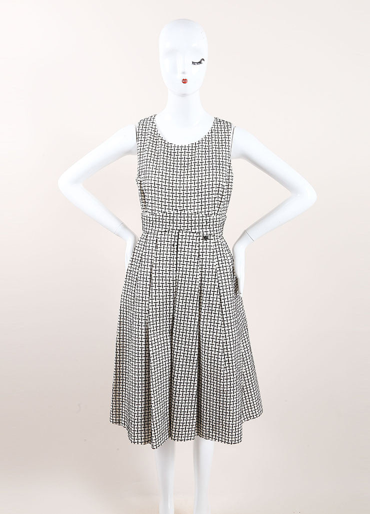 Chanel Black and White Cotton and Silk Woven Sleeveless Pleated A-Line Dress Frontview