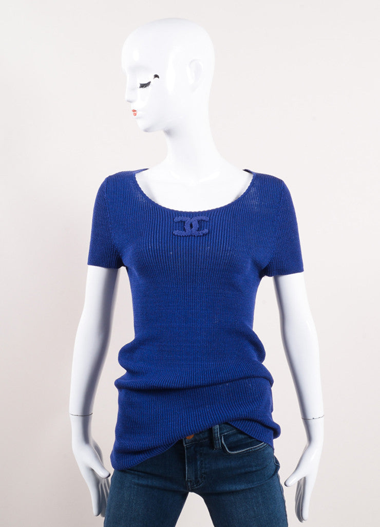 "Chanel Blue Short Sleeve Scoop Neck ""CC"" Knit Top Frontview"