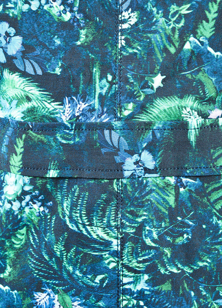 Erdem Green and Blue Tropical Floral Print Short Sleeve Dress Detail